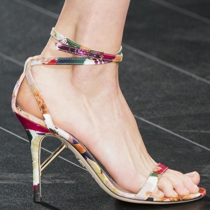 Cushnie Et Ochs Felix Floral Print Sandals