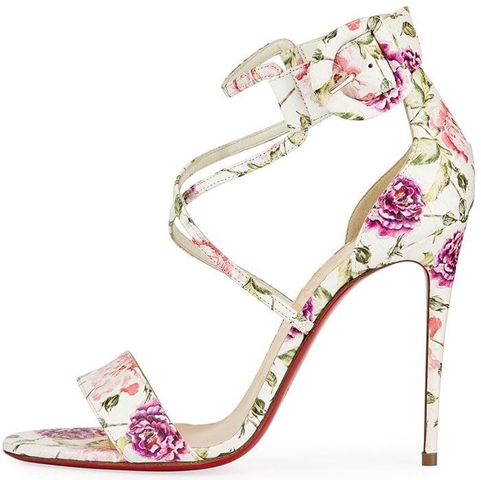 Floral-Print Snakeskin Choca Red Sole Sandals
