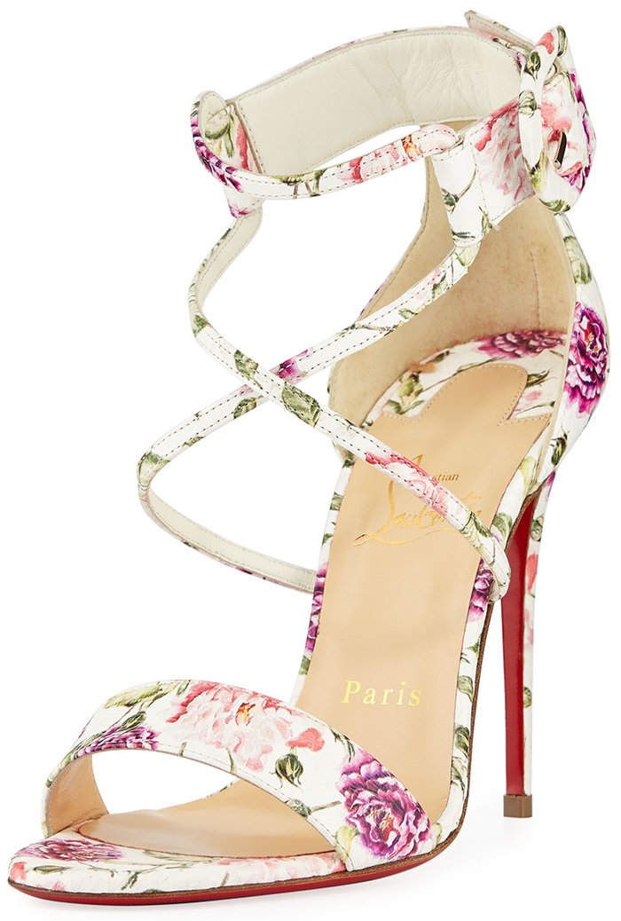 Floral-Print Snakeskin Choca Red Sole Sandals