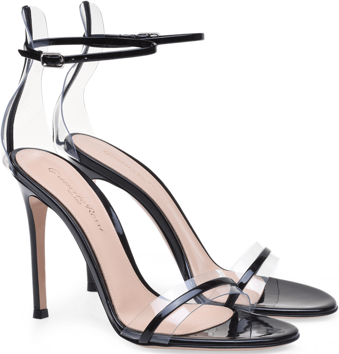 Black G-String Sandals in Leather and Plexi