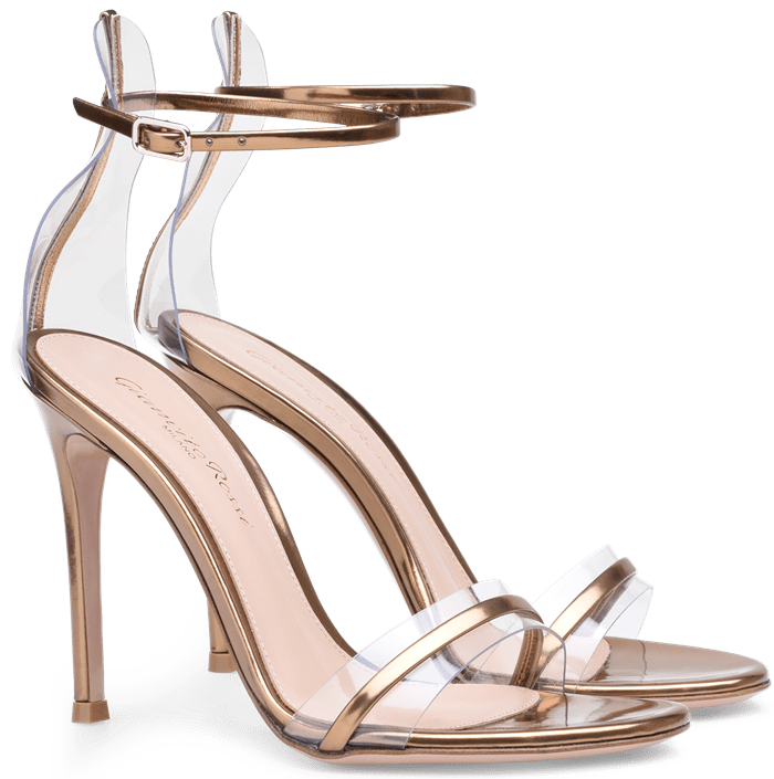Gold G-String Sandals in Leather and Plexi
