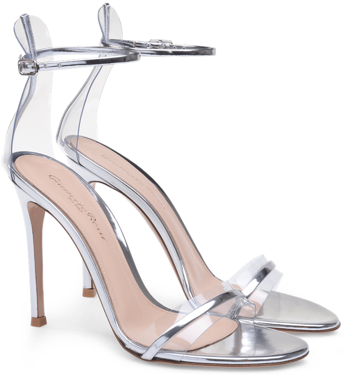 Silver G-String Sandals in Leather and Plexi