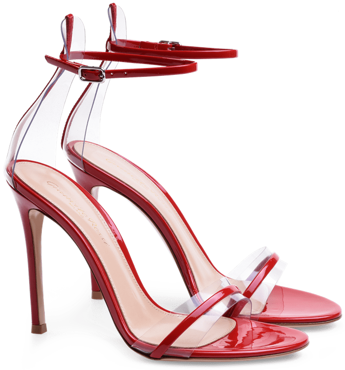 Red G-String Sandals in Leather and Plexi