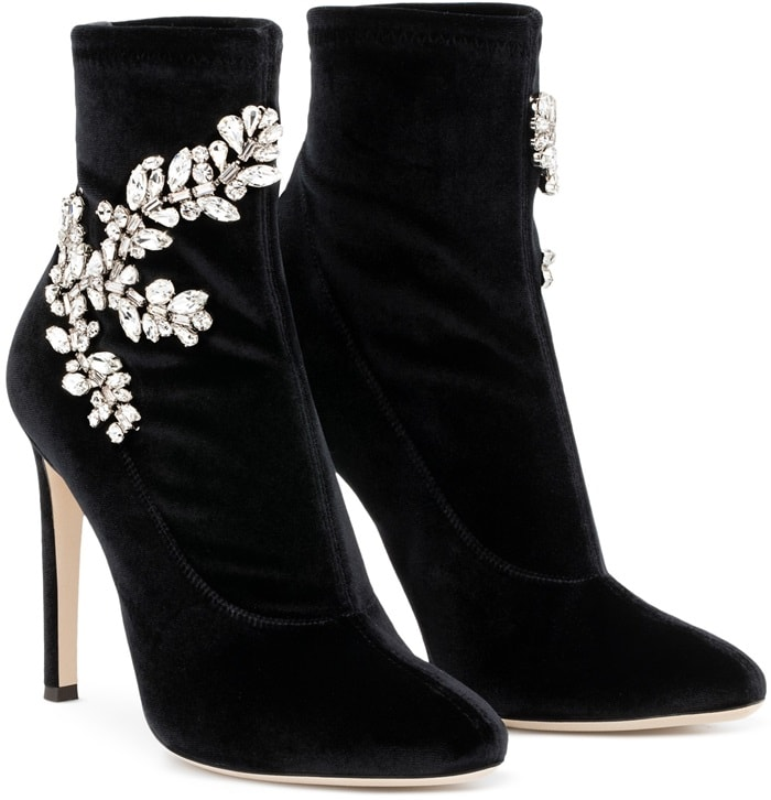Black Velvet Stretch Fabric 'Celeste' Boots With Crystals
