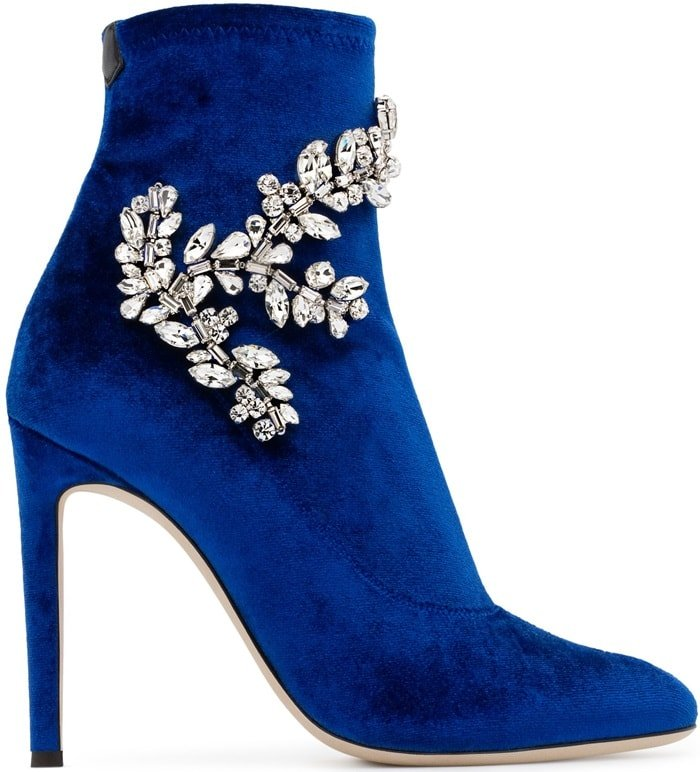 Blue Velvet Stretch Fabric Celeste Boots With Crystals