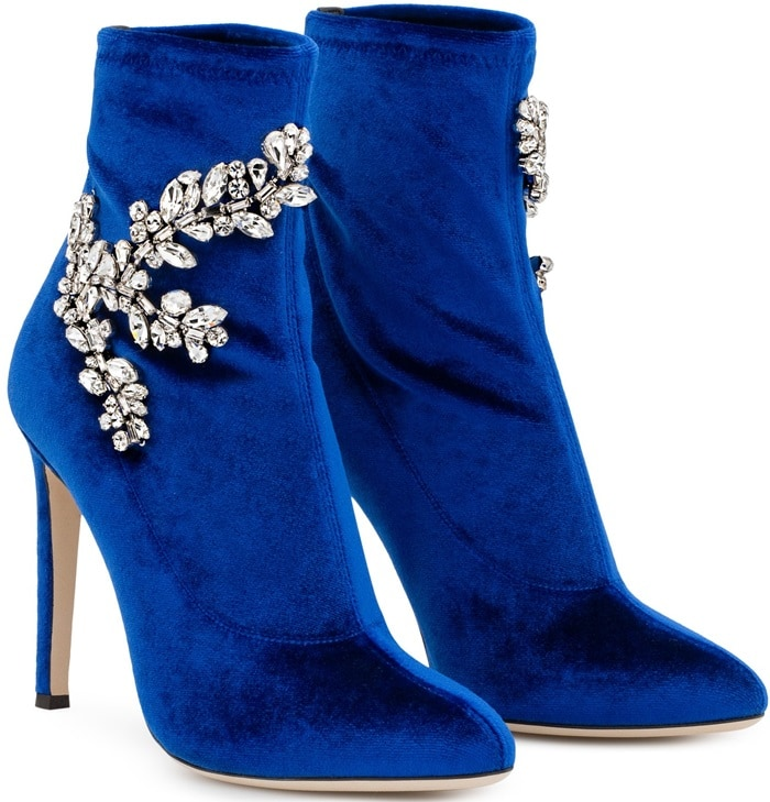 Blue Velvet Stretch Fabric 'Celeste' Boots With Crystals