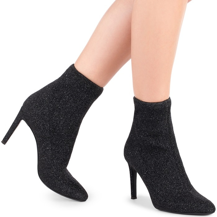 Black Fabric 'Celeste' Boots With Glitter Finishing
