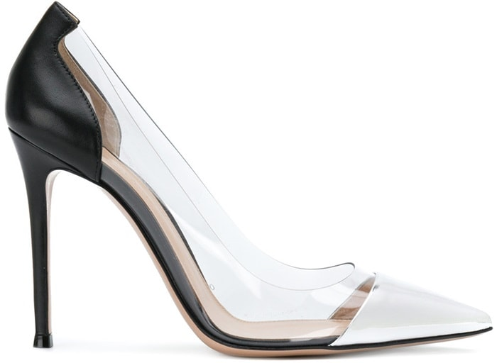 These silver-tone and black leather Plexi pumps boast a pointed toe