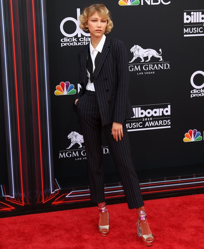 Grace VanderWaal completed her look with custom-made socks and 'Tayla' platform sandals by Chinese Laundry