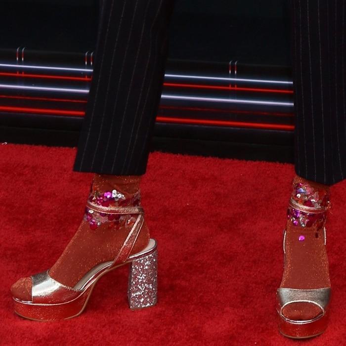Grace VanderWaal rocking socks andglitter Tayla platforms