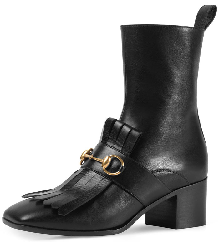Gucci 'Polly' Kiltie Leather Ankle Boots