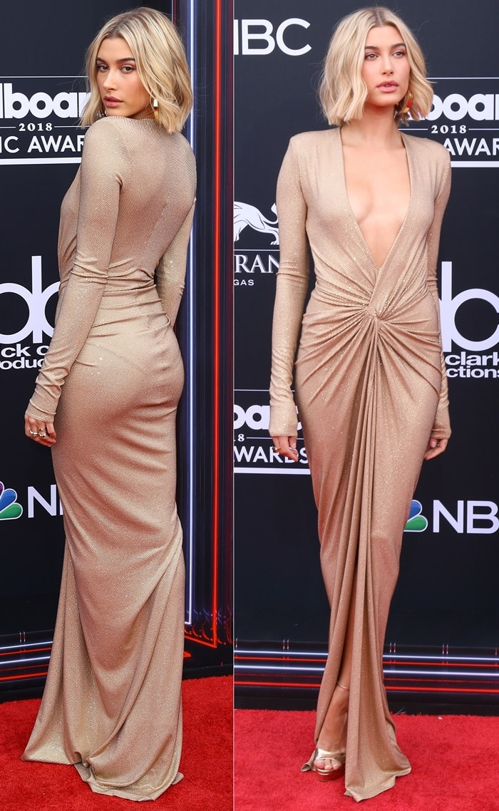 Hailey Baldwin in a plunging gownfrom the Alexandre Vauthier Fall 2018 collection at the 2018 Billboard Music Awards