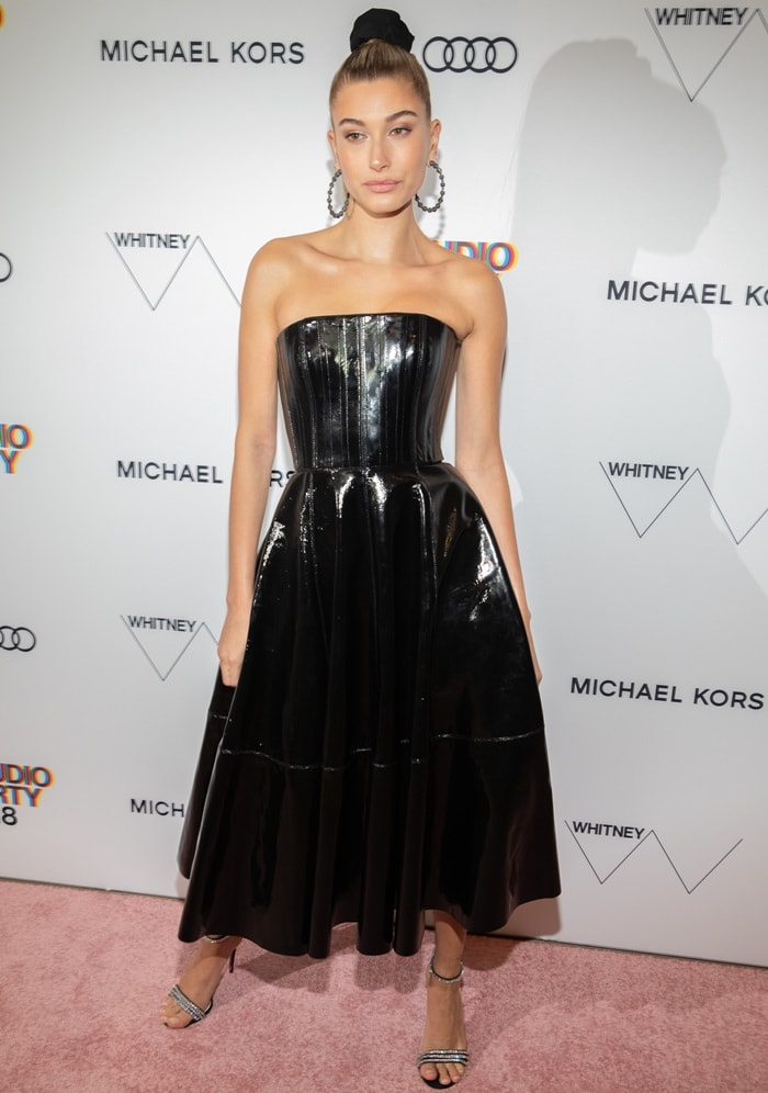 Hailey Baldwin's dazzling Alex Perry patent leather gown
