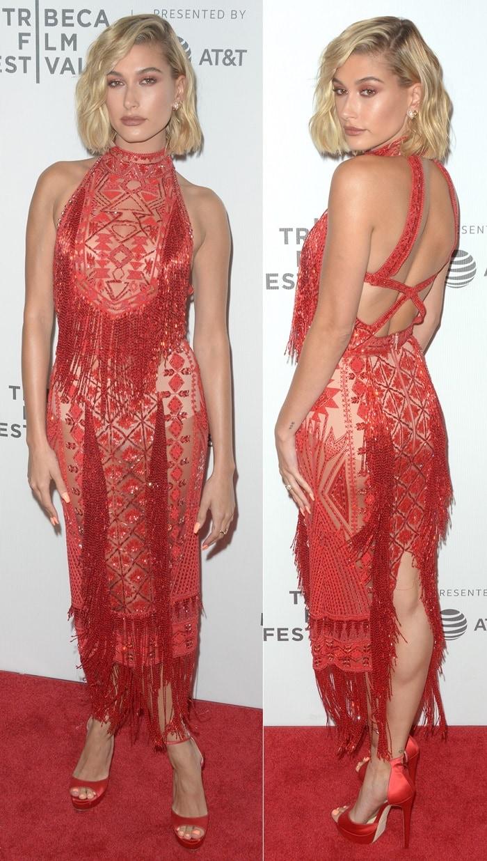 Hailey Baldwin in a red sheer Zuhair Murad SS18 dress