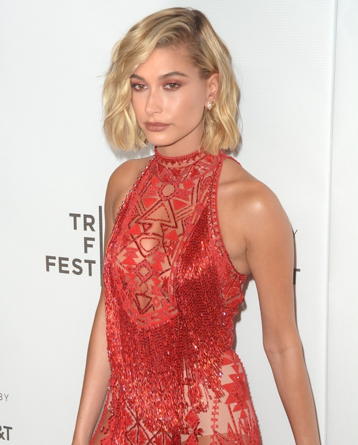Hailey Baldwin exposing her white underwear at the 2018 Tribeca Film Festival