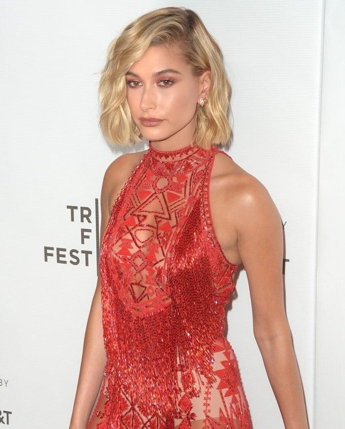 Hailey Baldwin exposing her white underwear at the 2018 Tribeca Film Festival