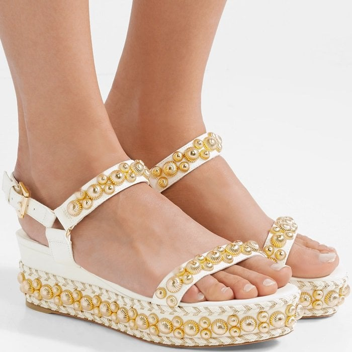 Rondaclou Studded Leather Wedge Sandals