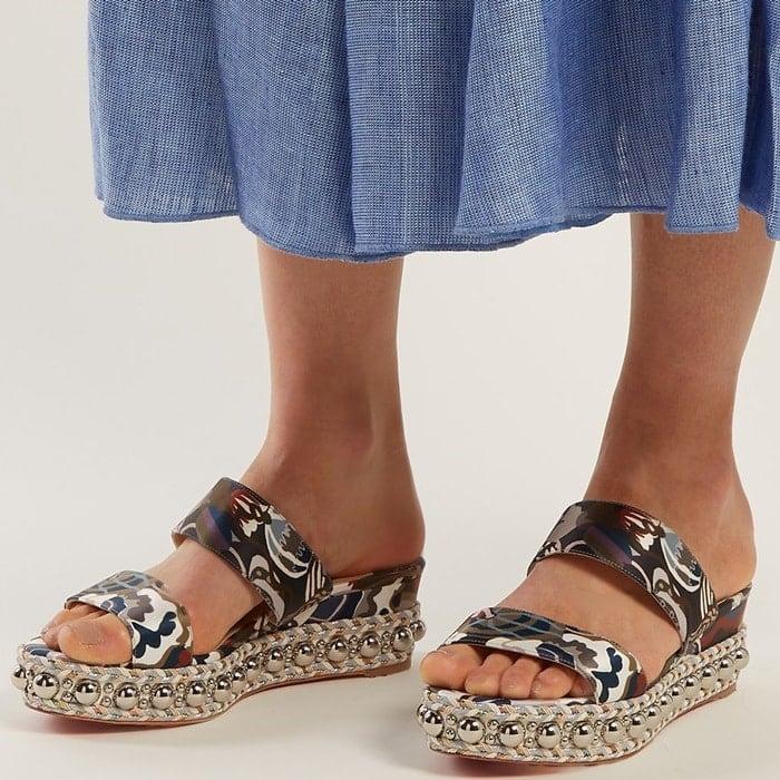 Navy Janitag 60 Liberty-Print Flatform Sandals