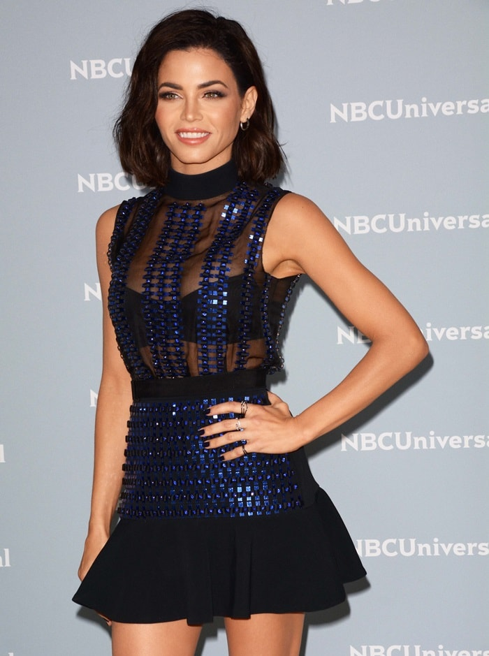 Jenna Dewan wearing an embellished flounce skirt and a ribbon plexi & crystals embroidered organza top