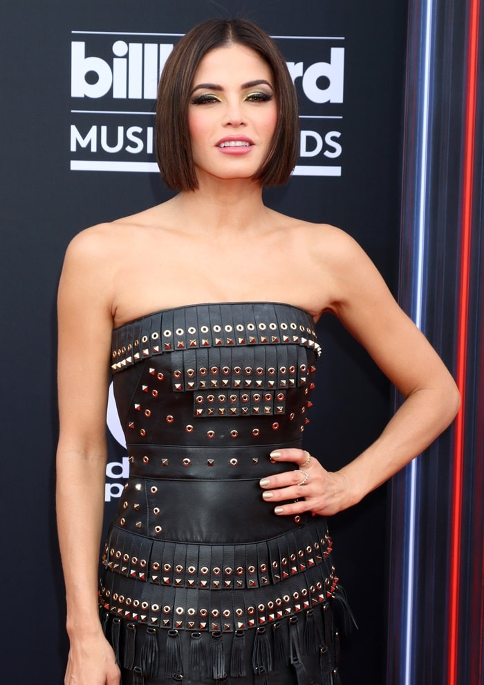 Jenna Dewan in a gladiator-inspired strapless leather mini dress from Zuhair Murad