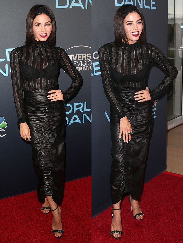 Jenna Dewan wearing Olgana jeweled sandals with a gathered leather maxi skirt.