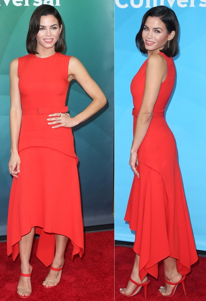 Jenna Dewan in a red sleeveless midi length dress from Reem Acra