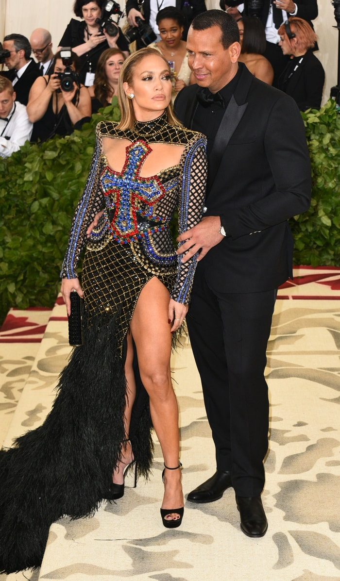 Jennifer Lopez and Alex Rodriguez walk the red carpet together at the 2018 Met Gala