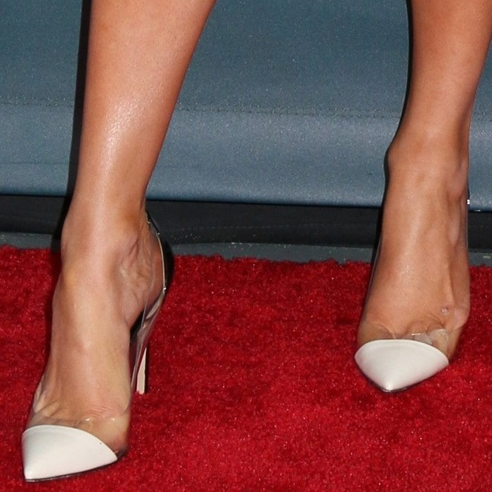 Jennifer Lopez showing off her sweaty feet in Gianvito Rossi shoes