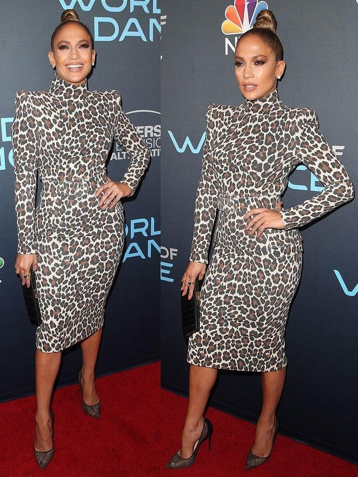 Jennifer Lopez in a leopard-print dress and mesh Christian Louboutin pumps.