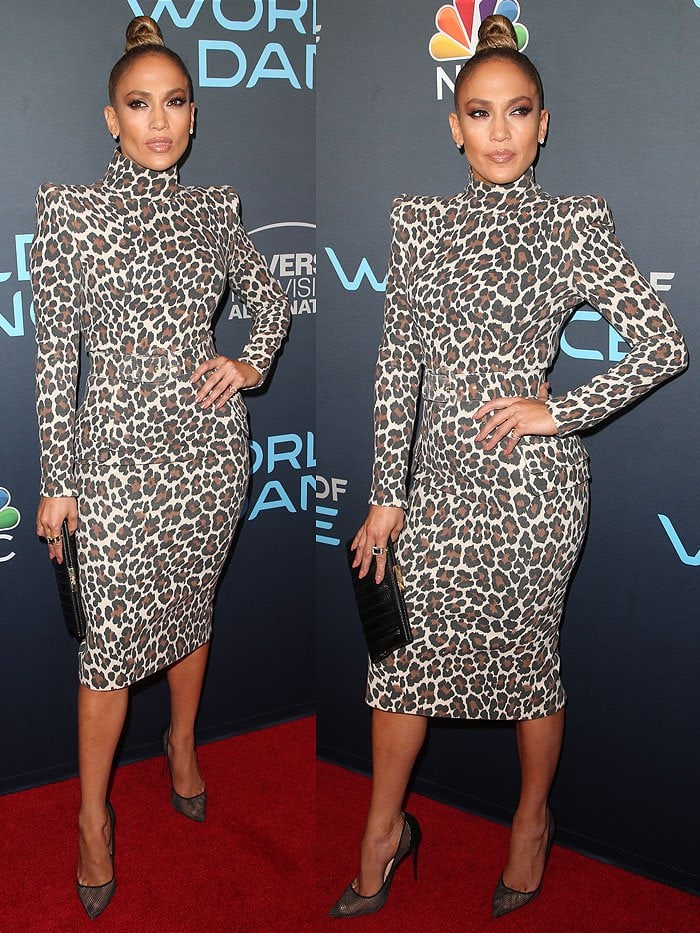 Jennifer Lopez in a Sergio Hudson leopard dress and Christian Louboutin 'Follies Resille' pumps.