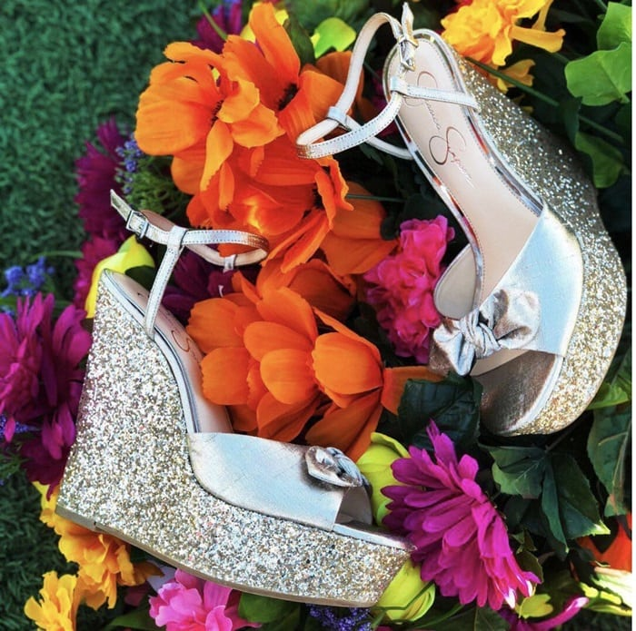 Shimmer Silver Metallic 'Amella' Wedge Sandals