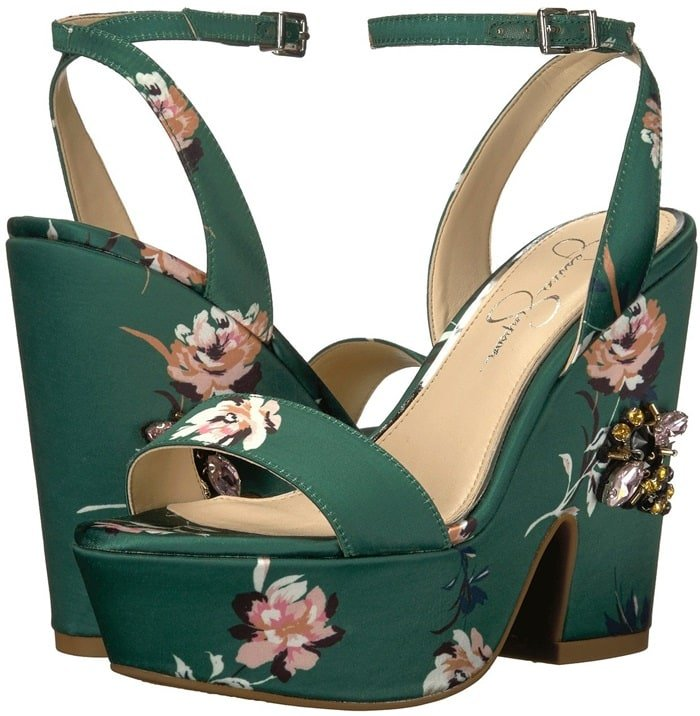 Floral Print 'Carena' Sandals WithJeweled Bee