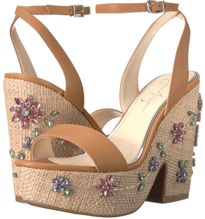 Sculpted 'Cressia' Wedges With Crystal-Embellished Flowers