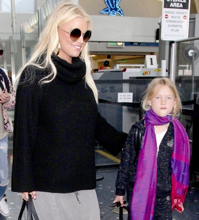 Jessica Simpson with her daughter Maxwell at Los Angeles International Airport arrivals