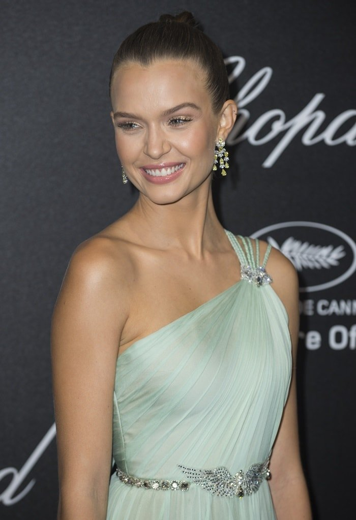 Josephine Skriver wearing a mint green dress from the Georges Hobeika Spring 2018 Haute Couture collection