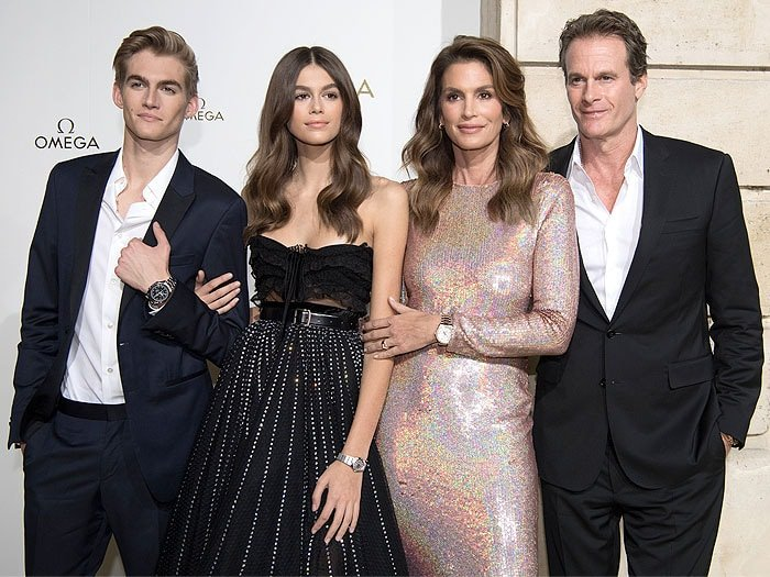 "Presley Gerber, Kaia Gerber, Cindy Crawford, and Rande Gerber, at the ""Her Time"" Omega photocall."
