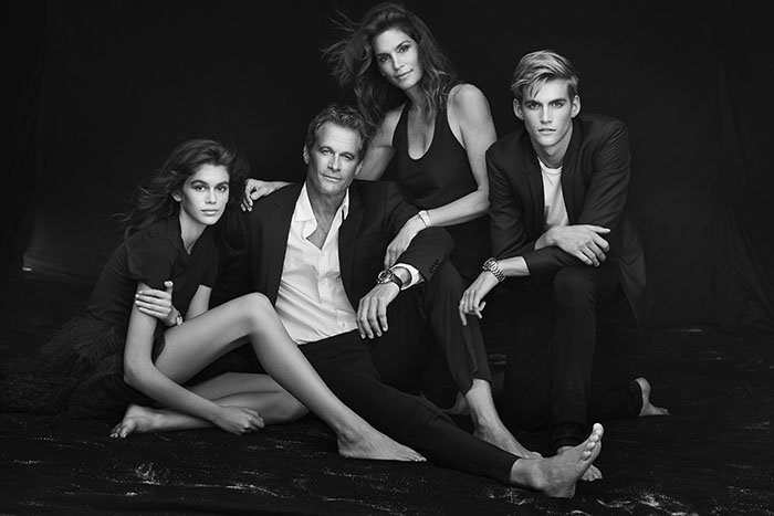 Kaia Gerber, Rande Gerber, Cindy Crawford, and Presley Gerber star in the Omega Her Time'campaign.