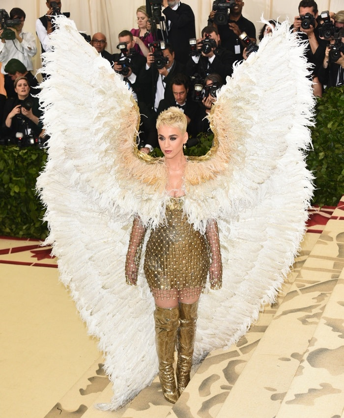 Katy Perry wearing agoldsequin-embellished chainmail-inspired mini dress