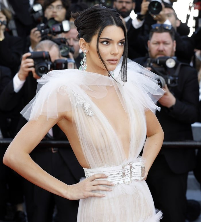 Kendall Jenner dressed like a braless swan for the premiere of 'Girls of the Sun' during the 2018 Cannes Film Festival in Cannes, France, on May 12, 2018