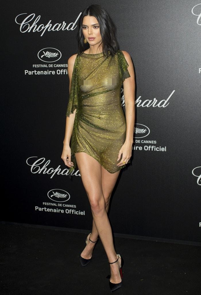 Kendall Jenner wearing Christian Louboutin pumps at Chopard's Secret Night at Chateau de la Croix des Gardes