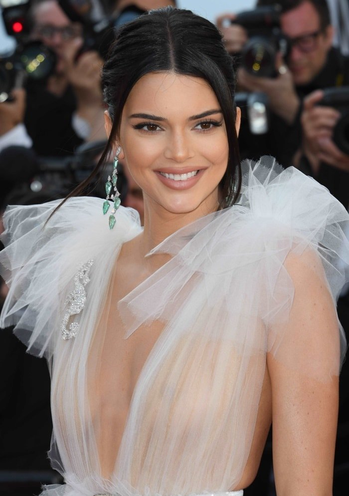 Kendall Jenner showing off her statement Chopard earrings