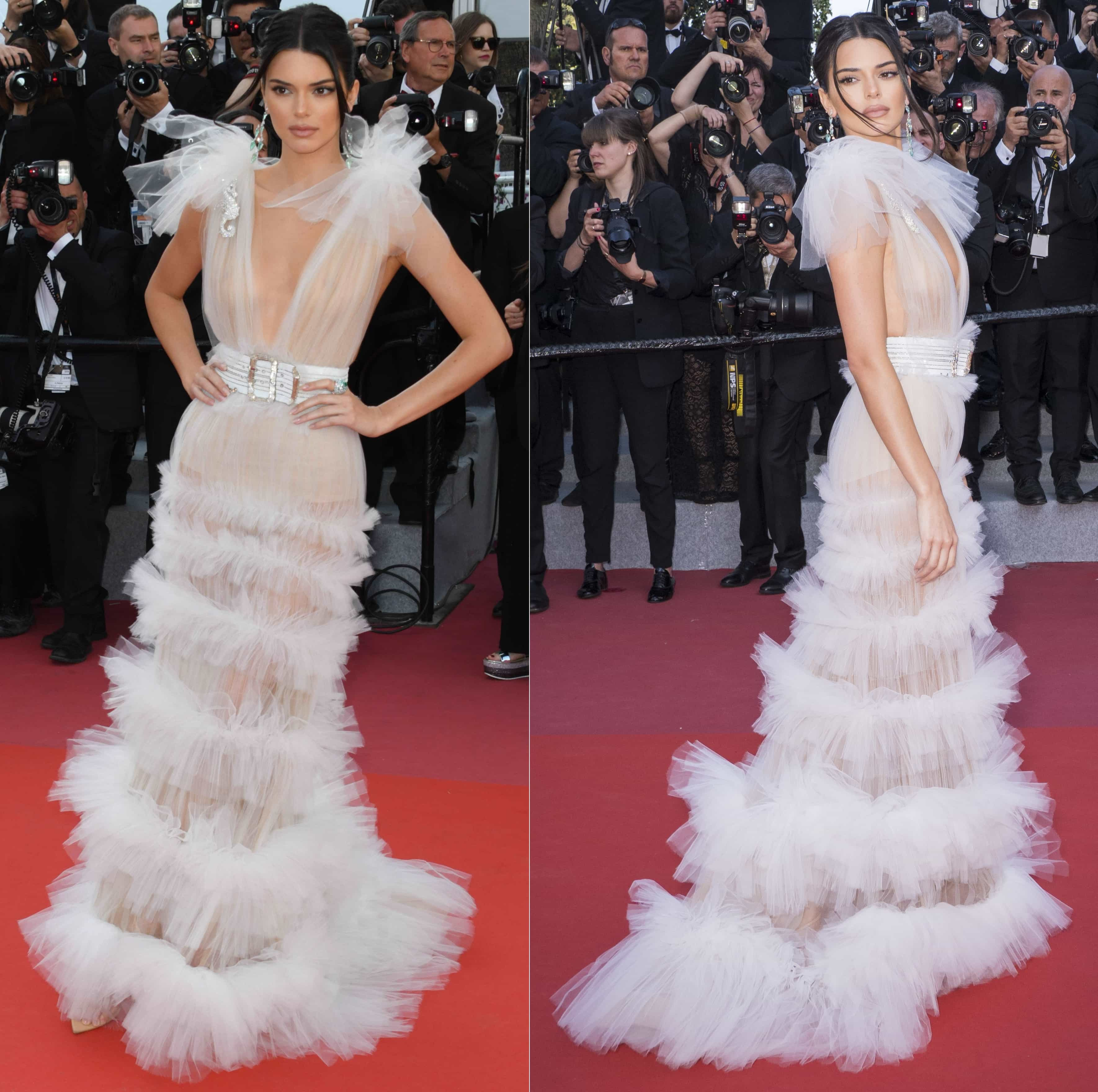 Kendall Jenner ina swan-like dress from Schiaparelli's Fall/Winter 2017-2018 Couture collection