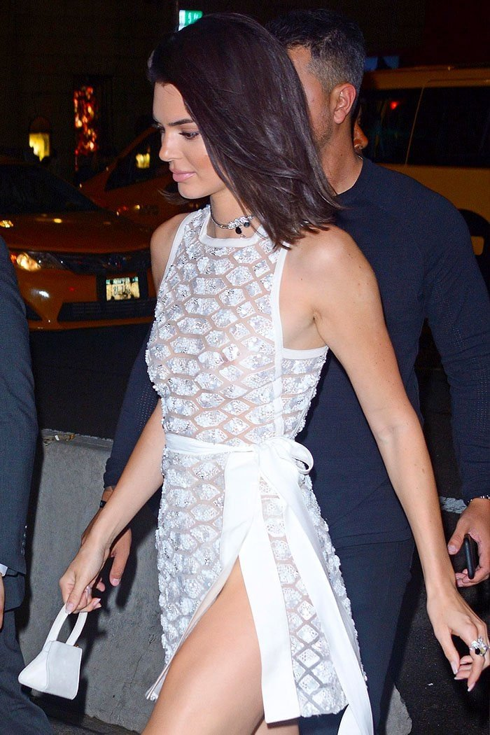 Kendall Jenner bra-less in an Elie Saab Spring 2018 white snakeskin-pattern tie-waist dress.