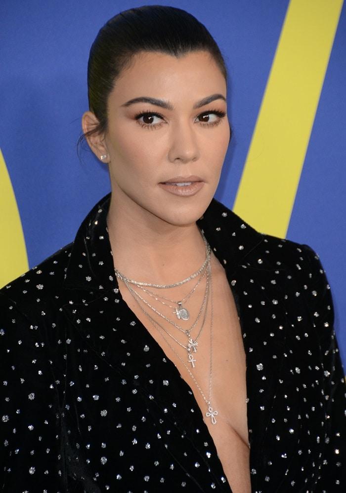 Kourtney Kardashian's crystal velvet single button blazer