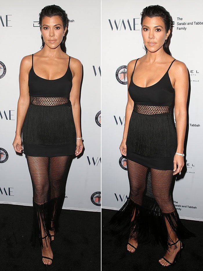 Kourtney Kardashian's sexy Dundas fringe mesh tank top and matching fringe mesh skirt