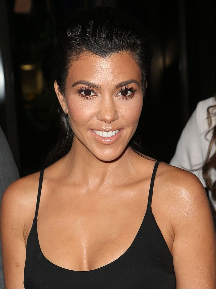 Kourtney Kardashian fresh-faced at The Syrian American Medical Society event.