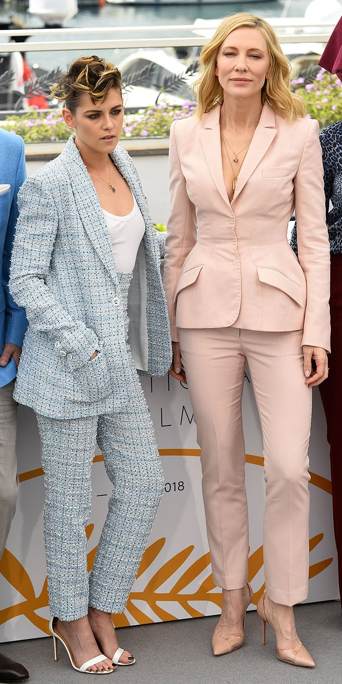 Kristen Stewart and Cate Blanchett at photo call for juries held during the 2018 Cannes Film Festival in Cannes, France, on May 8, 2018.