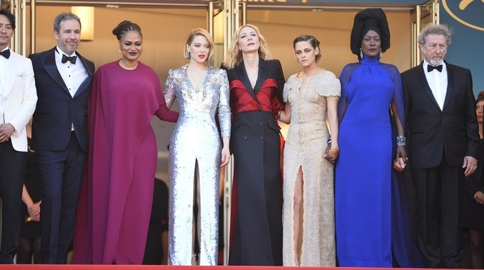 Denis Villeneuve, Robert Guediguian, Chang Chen, Lea Seydoux, Kristen Stewart, Cate Blanchett, Ava DuVernay, and Khadja Nin during the closing ceremony of the2018 Cannes Film Festival