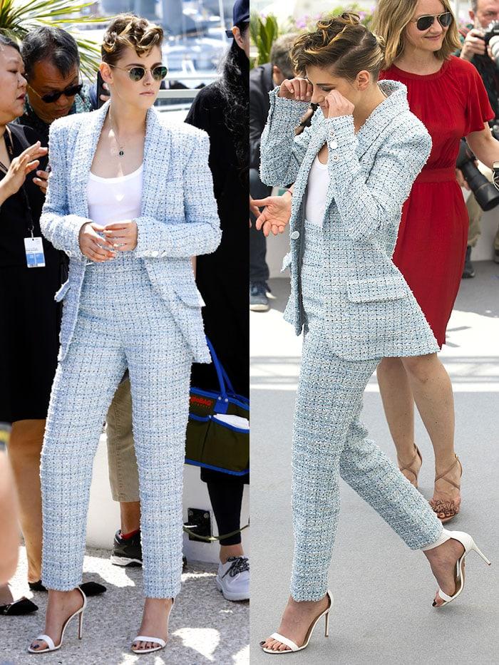 Kristen Stewart wearing aChanel Resort 2019 high-waisted suit with white Aquazzura 'Casablanca' sandals.