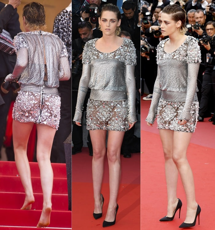 Kristen Stewart styled her Chanel dress with uncomfortable Christian Louboutin pumps, but ended up going barefoot